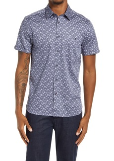 Ted Baker London Snobark Floral Slim Fit Button-Up Short Sleeve Shirt