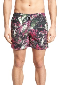 Ted Baker London Spencer Tropical Leaf Print Swim Trunks