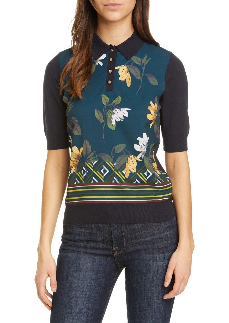 Ted Baker London Sreenai Savanna Floral Mix Media Cotton Blend Sweater