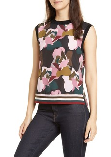 Ted Baker London Strawberry Swirl Knit & Woven Top