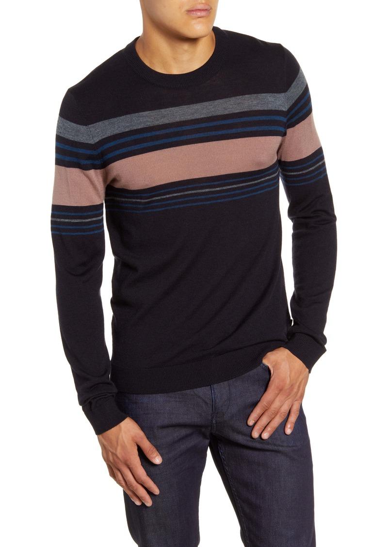 Ted Baker London Stripe Crewneck Wool Blend Sweater