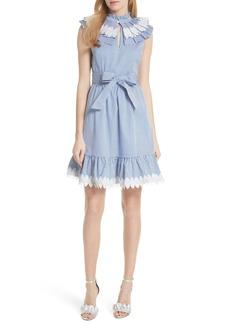Ted Baker London Stripe Frill Bib Fit & Flare Dress