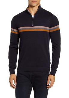 Ted Baker London Stripe Quarter Zip Pullover