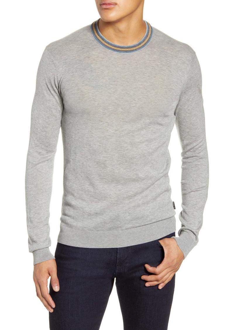 Ted Baker London Stripe Slim Fit Crewneck Sweater