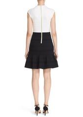 Ted Baker London Stripe Texture Colorblock Flounce Hem Dress