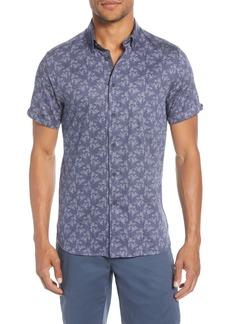 Ted Baker London Sunflur Slim Fit Leaf Print Short Sleeve Button-Down Shirt