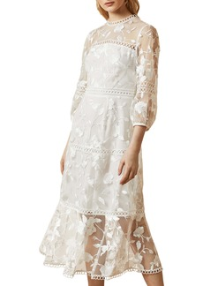 Ted Baker London Tabii Embroidered A-Line Dress