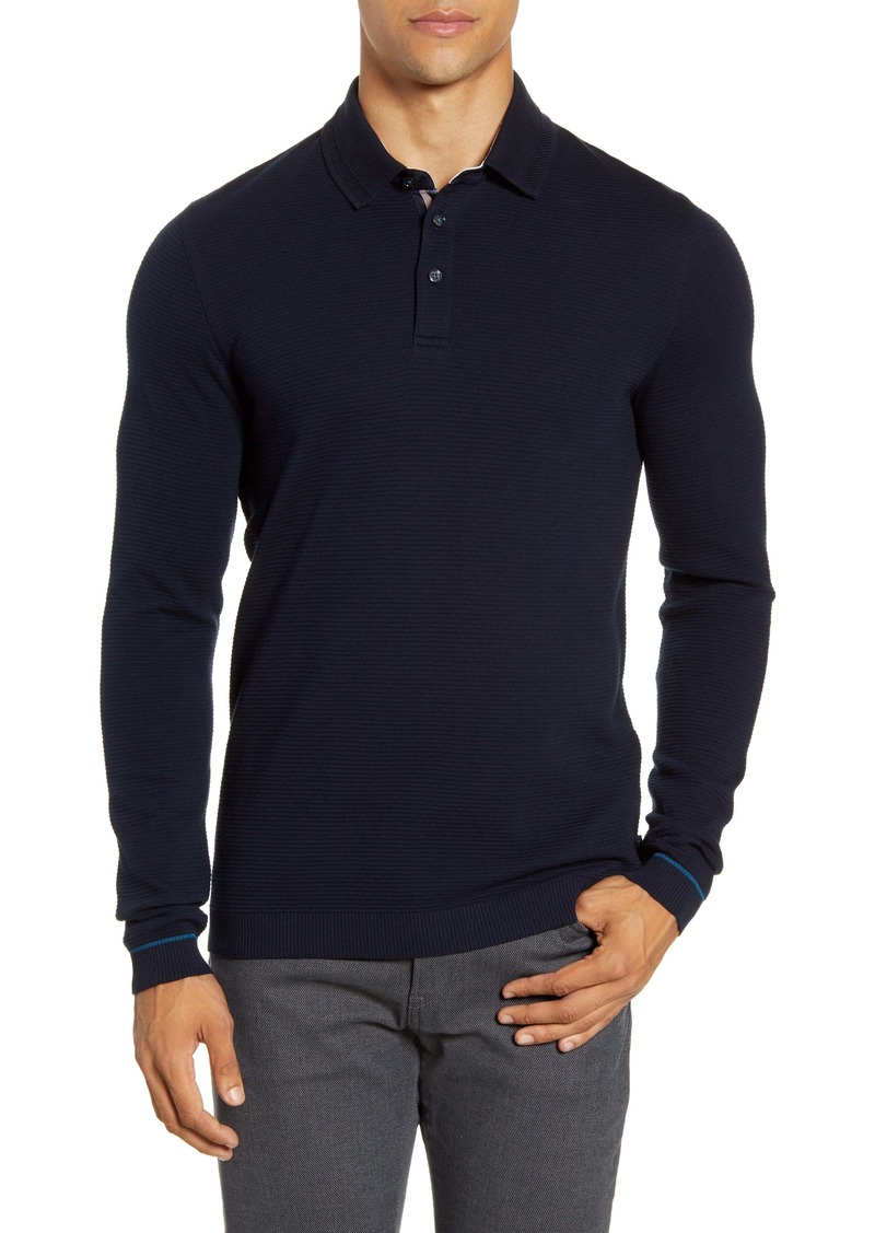 Ted Baker London Terned Long Sleeve Knit Polo