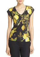 Ted Baker London 'Tiwana - Citrus Vine' Print Woven Front Top