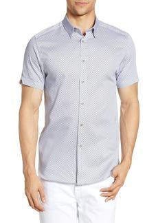 Ted Baker London Slim Fit Geo Print Short Sleeve Button-Down Sport Shirt