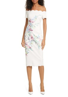 Ted Baker London Trixiiy Pergola Floral Off the Shoulder Sheath Dress