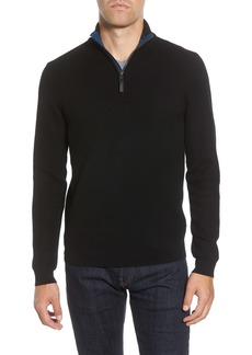 Ted Baker London Tunnel Slim Fit Textured Quarter Zip Sweater