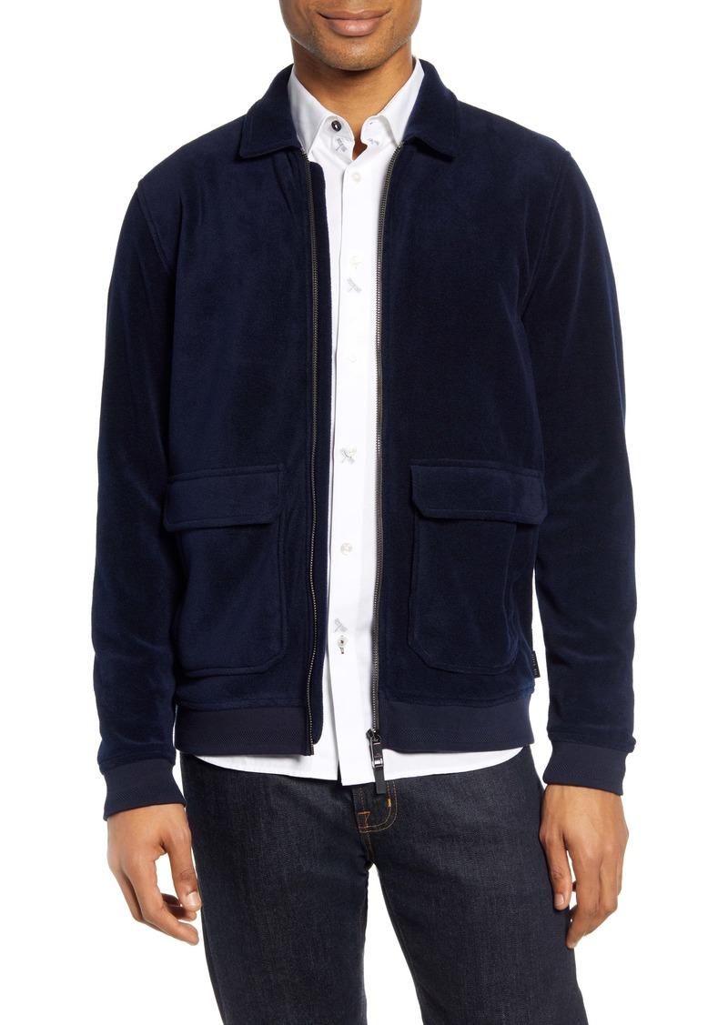 Ted Baker London Turbbo Slim Fit Velvet Bomber Jacket