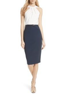 Ted Baker London Twist Neck Belted Pencil Dress