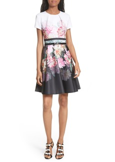 Ted Baker London Valerey Painted Posie Belted Skater Dress