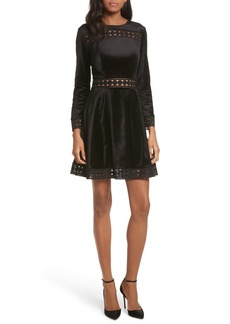 Ted Baker London Velvet & Lace Skater Dress