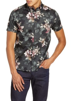 Ted Baker London Verre Slim Fit Floral Short Sleeve Button-Up Shirt