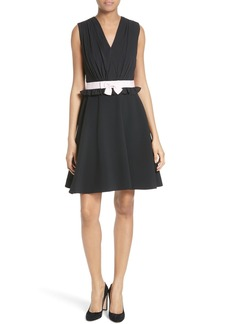 Ted Baker London Vexi Contrast Waist Gathered Fit & Flare Dress