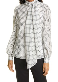 Ted Baker London Windowpane Plaid Removable Tie Neck Blouse