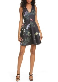 Ted Baker London Wrapel Highland Fit & Flare Dress