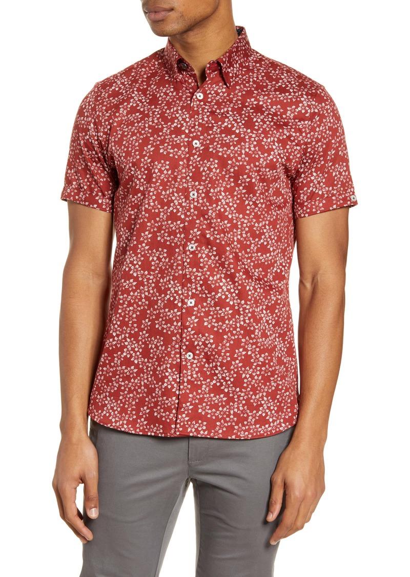 Ted Baker London Yepyep Slim Fit Floral Short Sleeve Button-Up Shirt