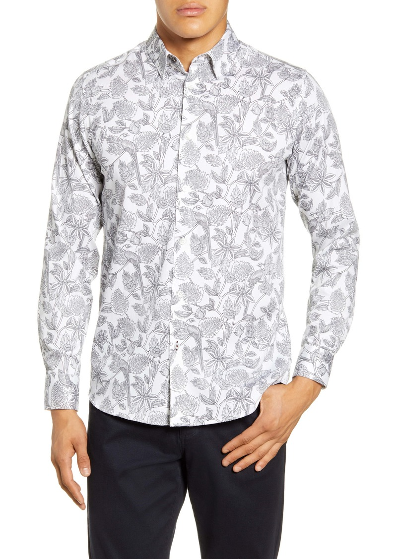 Ted Baker London Youcan Bold Slim Fit Floral Button-Up Shirt