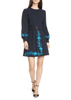 Ted Baker London Zephyra Bluebell Embroidered Long Sleeve Dress