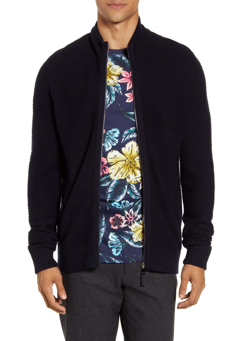 Ted Baker London Zip Front Ribbed Cardigan