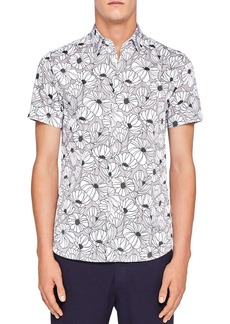 Ted Baker Marka Oversized Floral Regular Fit Button-Down Shirt