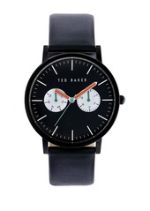 Ted Baker Mens Black Plated Watch with Calf Leather Strap
