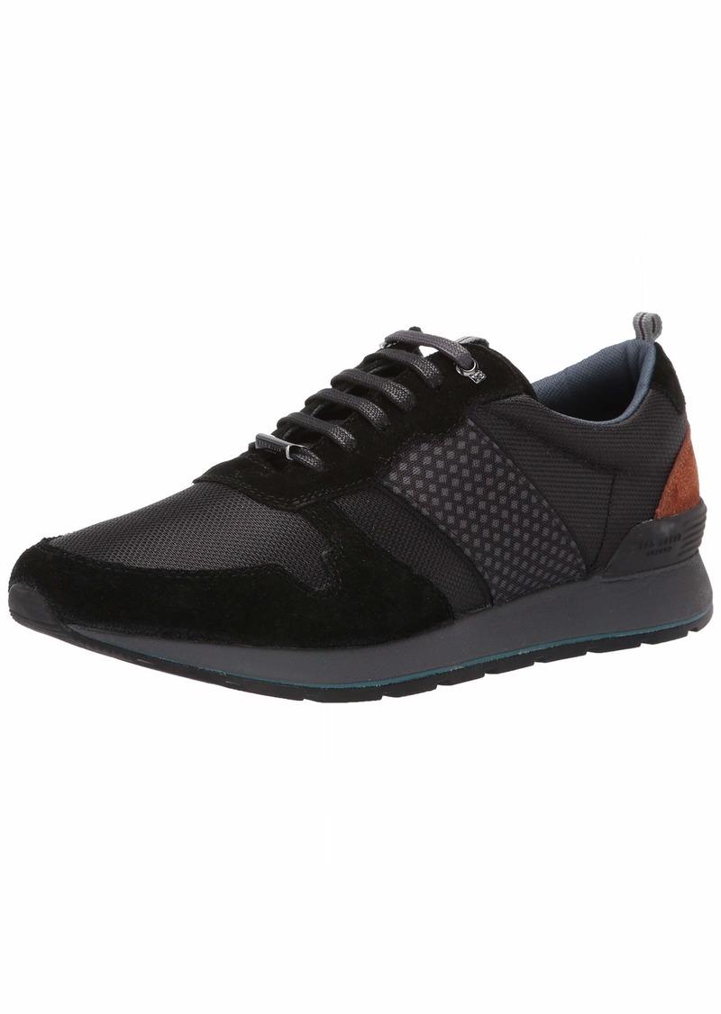 Ted Baker Men's LOTPEN Sneaker Black/tan Textile/Suede  Medium US