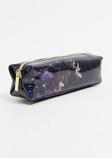 Ted Baker Neliiee pomegranate floral make-up brush and pencil case in navy