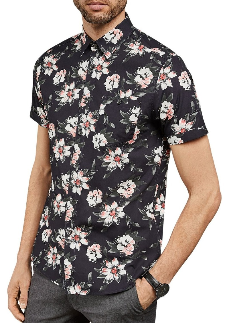 Ted Baker Philip Floral Print Slim Fit Shirt