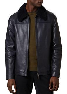 Ted Baker Reegis Shearling-Trim Leather Jacket