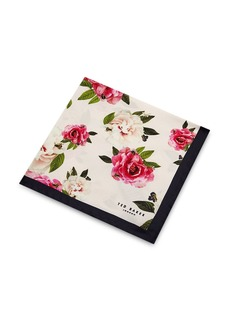 Ted Baker Rosepok Rose Print Silk Pocket Square