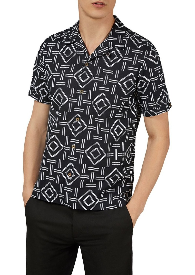 Ted Baker Simon Block Print Slim Fit Shirt