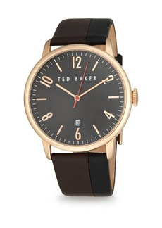 Ted Baker Two-Tone Stainless Steel & Leather Analog Watch