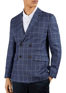 Ted Baker Windowpane Check Regular Fit Double Breasted Blazer