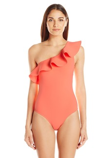 Ted Baker Women's Frillay Shoulder Neoprene Ruffle One Piece Swimsuit 52-Coral