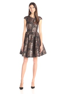 Ted Baker Women's Laurey Floral Metallic Jacquard Fit and Flare Dress