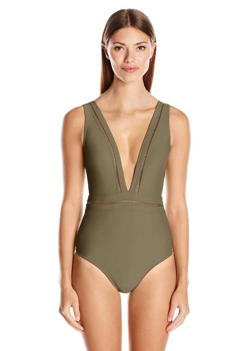 5443b7174b Ted Baker Women's Starza Pointelle Deep-V Plunge Sexy One Piece Swimsuit