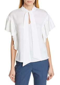 Ted Baker Tie Neck Ruffle Sleeve Top