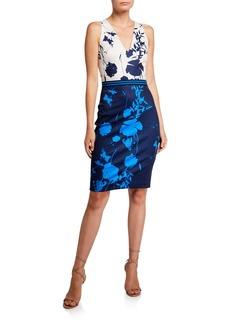 Ted Baker Tilliai Colorblock Printed V-Neck Crossback Bodycon Dress