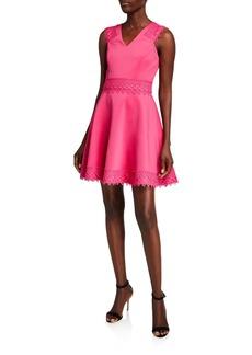 Ted Baker V-Neck Sleeveless Lace Tiered Skater Dress