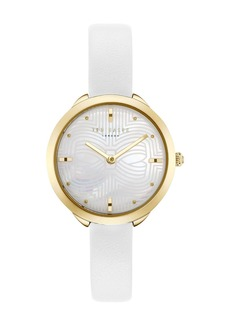 Ted Baker Women's Gold Mother of Pearl White Leather Strap Wach, 30mm