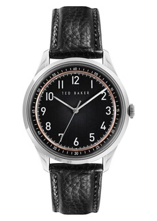 Men's Ted Baker London Daquir Leather Strap Watch