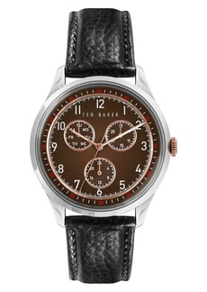 Men's Ted Baker London Daquir Multifunction Leather Strap Watch