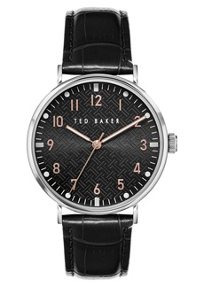 Men's Ted Baker London Mimosaa Leather Strap Watch