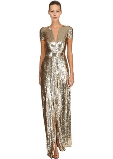Temperley Back Cutout Sequined Long Dress