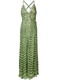 Temperley beaded sweetheart neck evening dress